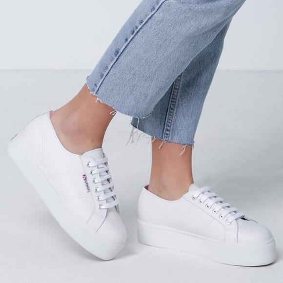 Superga Shoes   White Leather Platform